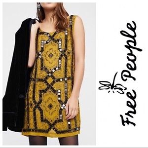 NWT Free People Speak Easy Beaded Mini Dress